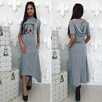 Трикотажное платье в спортивном стиле с принтом