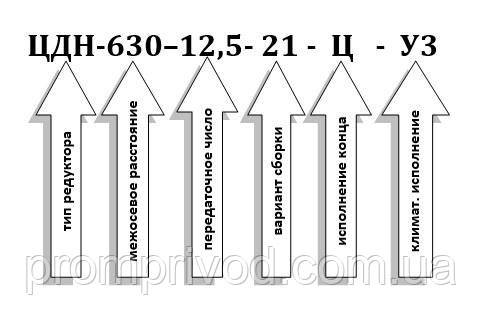 Условное обозначение редукторов ЦДН-630-12,5