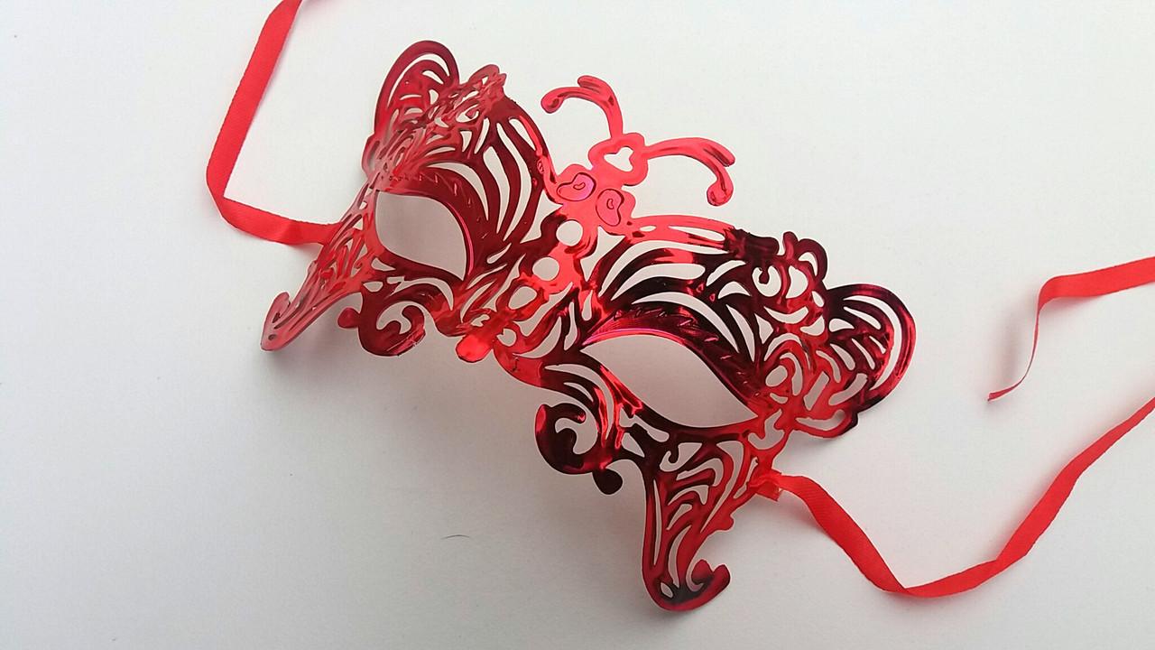 Карнавальная маска  красный металлик