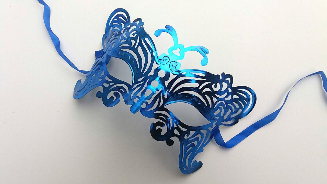 Карнавальная маска  синего цвета
