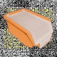 Ящик складской оранжевый с прозрачной крышкой 175х110х75 мм