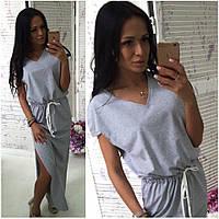 Платье с разрезами р.42-46 серый