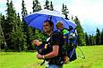 Эффектный механический зонт-трость в клетку EuroSCHIRM Swing Handsfree W2H6-CWS1/SU18256 синий, фото 4