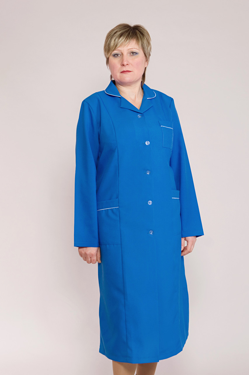 Длинный медицинский халат синего цвета