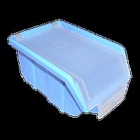 Ящик складской голубой с прозрачной крышкой 175х110х75 мм