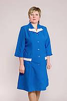 Женский медицинский халат синего цвета с белой кайомкой
