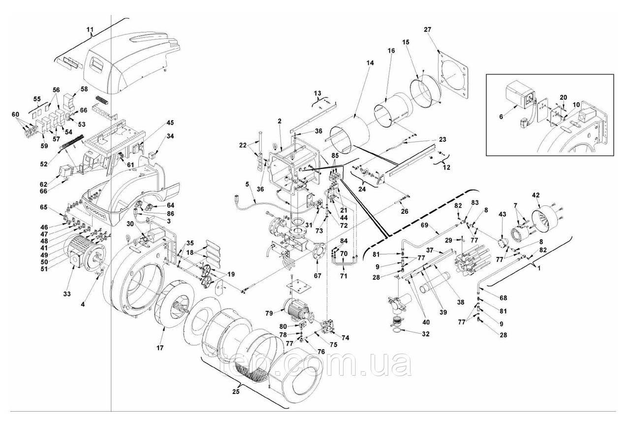 Запасні частини до пальника Riello RLS 300/400 BP MX