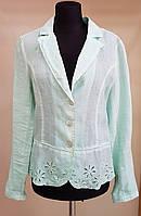 Летний пиджак из натурального льна бледно мятного цвета, без подкладки( Франция)