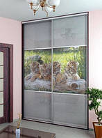 Шкафы-купе фотофасад+стекло лакобель