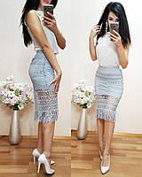Юбка (Фабричный Китай) ткань плотное кружево + подкладка качество люкс размер универсальный 42/46 42\46, Серый