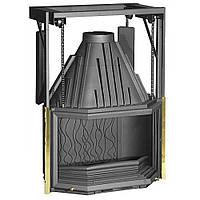 Каминная топка Invicta 850 Prismatique Rel с подъемной дверцей и кожухом для разводки тепла (гильотина)-15 кВт
