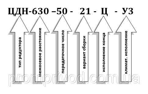 Условное обозначение редукторов ЦДН-630-50