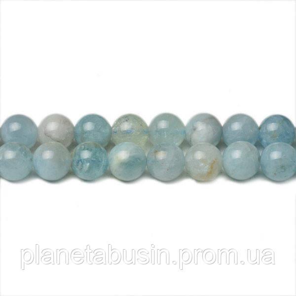 8 мм Натуральный Аквамарин, CN244, Натуральный камень, Форма: Шар, Отверстие: 1мм, кол-во: 47-48 шт/нить