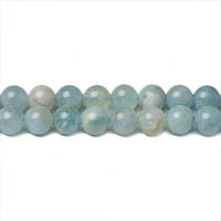 Настоящий Аквамарин, Натуральный камень, бусины 8 мм, Шар, Отверстие 1 мм, количество: 47-48 шт/нить