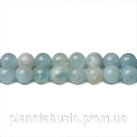 8 мм Натуральный Аквамарин, CN244, Натуральный камень, Форма: Шар, Отверстие: 1мм, кол-во: 47-48 шт/нить, фото 2