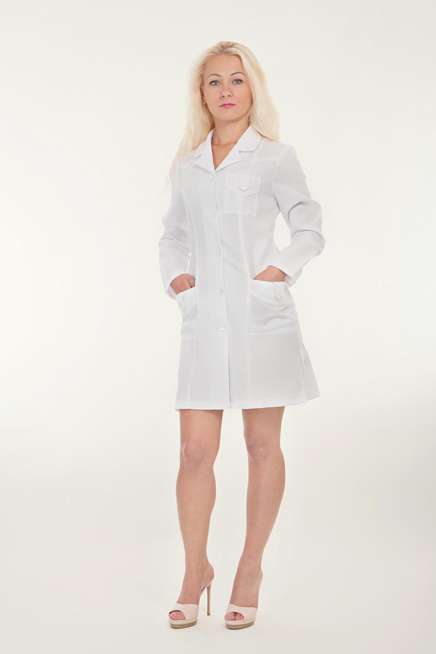 Белый медицинский халат короткий с длинным рукавом