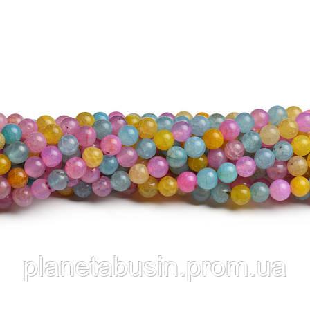 8 мм Разноцветный Агат Кракле, CN245, Натуральный камень, Форма: Шар, Отверстие: 1мм, кол-во: 47-48 шт/нить, фото 2