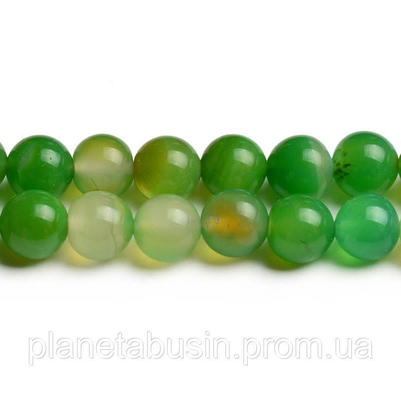 8 мм Зелёный Агат, CN246, Натуральный камень, Форма: Шар, Отверстие: 1мм, кол-во: 47-48 шт/нить