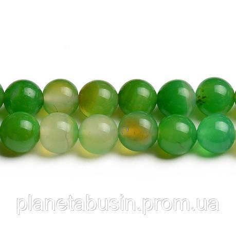 8 мм Зелёный Агат, CN246, Натуральный камень, Форма: Шар, Отверстие: 1мм, кол-во: 47-48 шт/нить, фото 2
