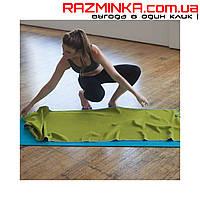 Немецкий коврик (полотенце) для йоги, фитнеса CRANE 183х60см САЛАТОВЫЙ ЦВ.