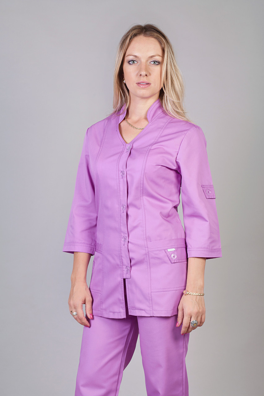 Медицинский женский костюм однотонный сиреневого цвета