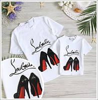 """Детская и взрослая футболка """"Louboutin"""" family look (отдельно)"""