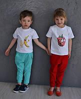 Детские костюмы: футболка с принтами и штаны (4 цвета)