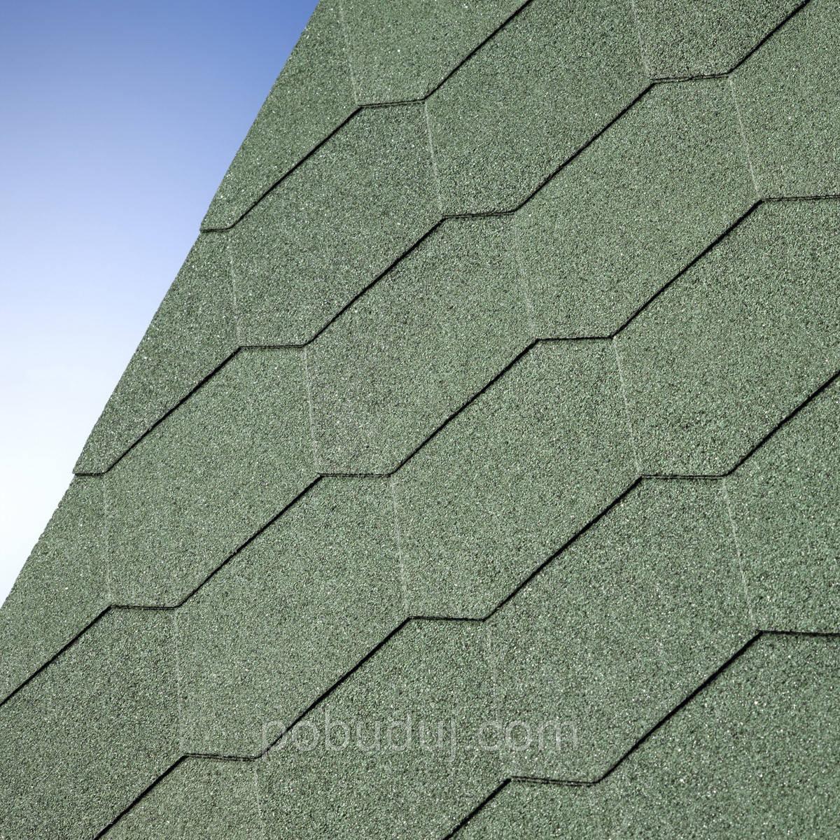 Битумная черепица Number One Hex Tile  Green (Зеленая плитка) - Наша Стройка в Киеве