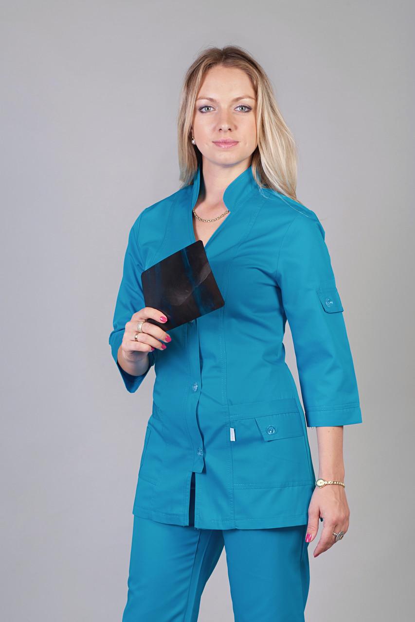Медицинский женский костюм однотонный синего цвета
