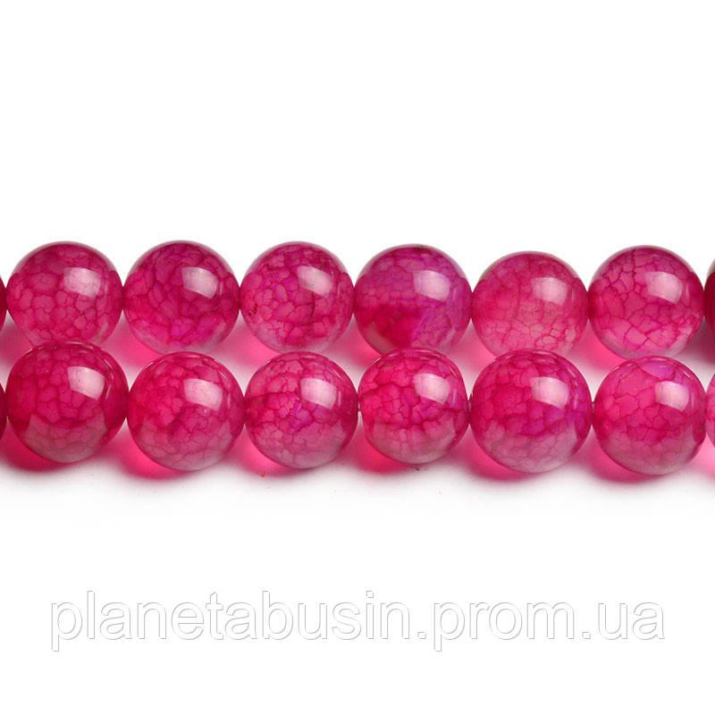 8 мм Розовый Агат Кракле, CN249, Натуральный камень, Форма: Шар, Отверстие: 1мм, кол-во: 47-48 шт/нить