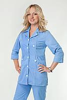 Медицинский женский костюм однотонный голубого цвета