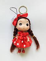 Кукла - брелок на сумку красная в горошок