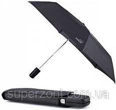 Компактный мужской зонт EuroSCHIRM Super flat leather umbrella 3034-CBL/SU18117 черный