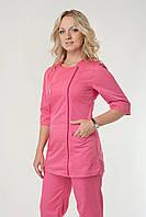 Медицинский женский костюм однотонный розового цвета