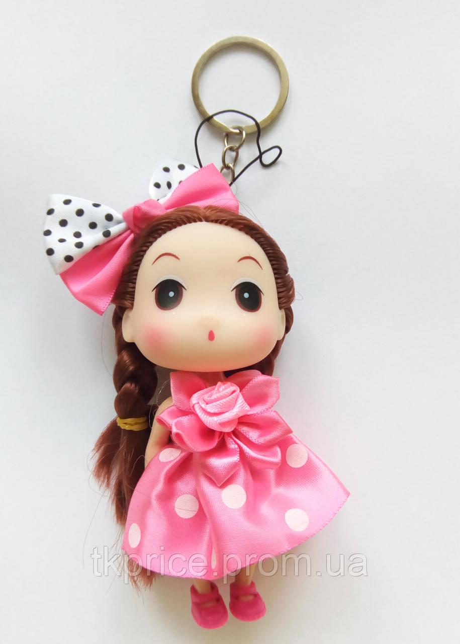Кукла - брелок на сумку розовая в горошок