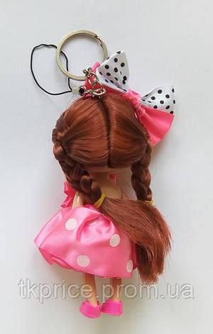 Кукла - брелок на сумку розовая в горошок, фото 2