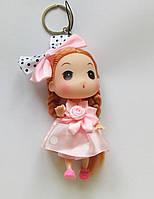 Кукла - брелок на сумку светло розовая в горошок