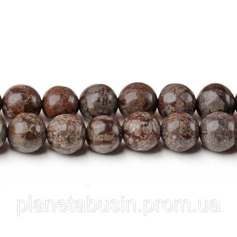 8 мм Коричневая Снежная Яшма, CN251, Натуральный камень, Форма: Шар, Отверстие: 1мм, кол-во: 47-48 шт/нить