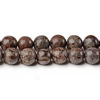 Коричневая Снежная Яшма, Натуральный камень, бусины 8 мм, Шар, Отверстие 1 мм, количество: 47-48 шт/нить