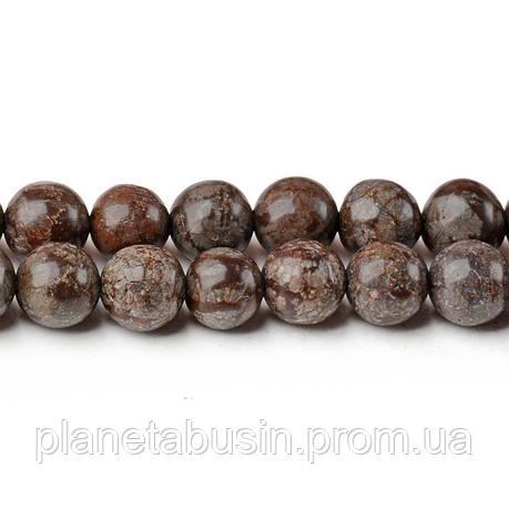 8 мм Коричневая Снежная Яшма, CN251, Натуральный камень, Форма: Шар, Отверстие: 1мм, кол-во: 47-48 шт/нить, фото 2
