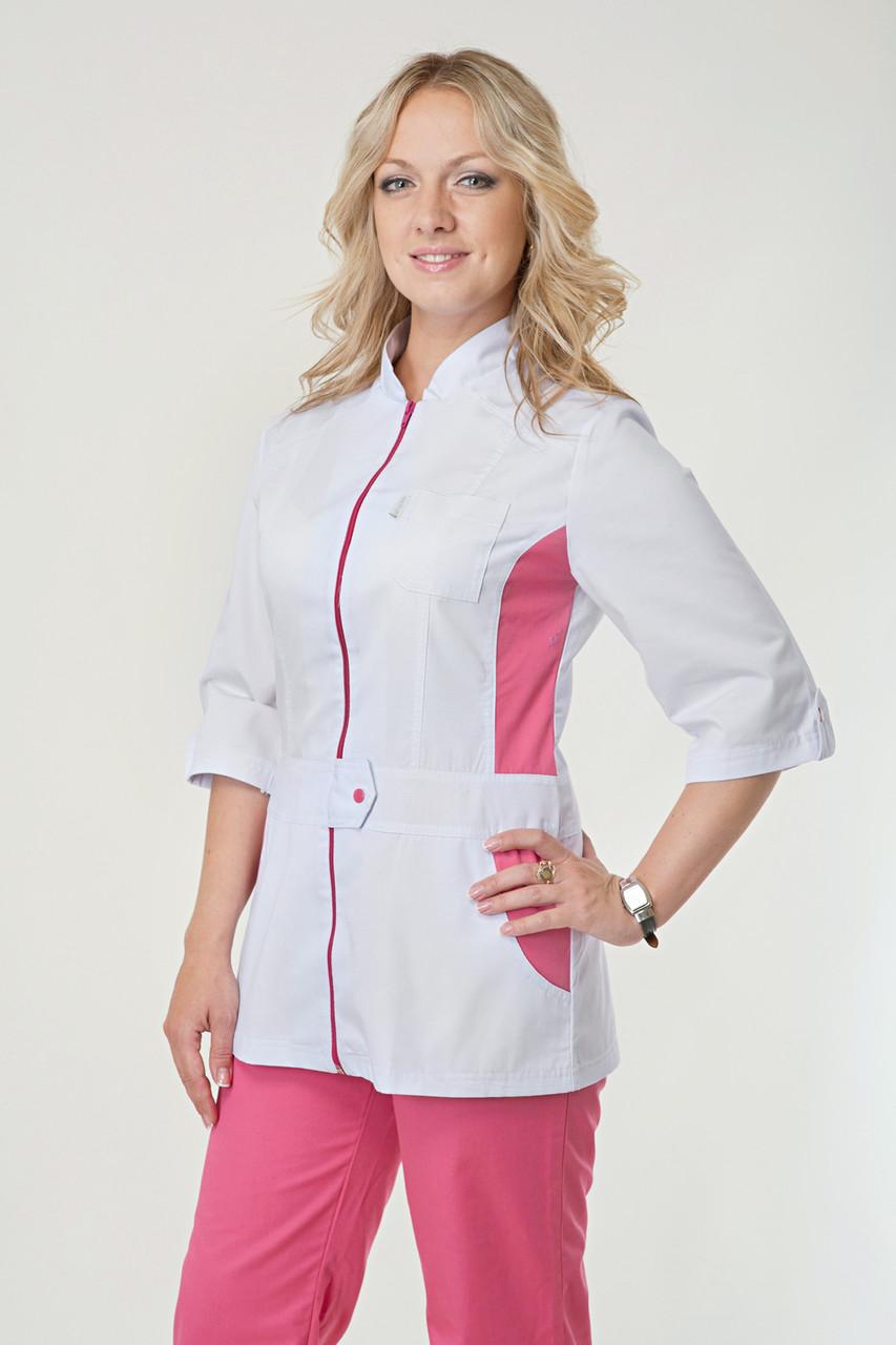 Медицинский женский костюм комбинированный белый с розовыми штанами