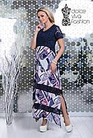 Стильное платье полуприлегающего силуэта размеры 50-58 код 1727-1, фото 1