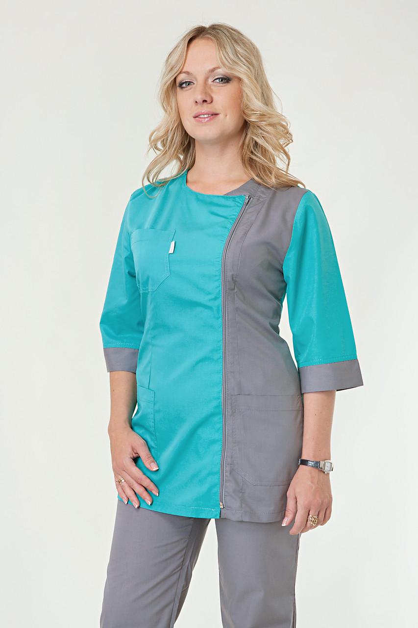 Медицинский женский костюм комбинированный на молнии