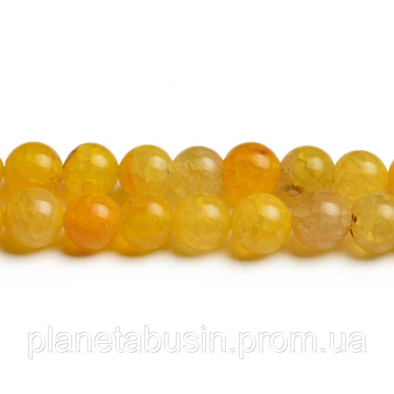 8 мм Жёлтый Агат Кракле, CN252, Натуральный камень, Форма: Шар, Отверстие: 1мм, кол-во: 47-48 шт/нить