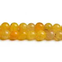 Жёлтый Агат Потресканный, Натуральный камень, бусины 8 мм, Шар, Отверстие 1 мм, количество: 47-48 шт/нить
