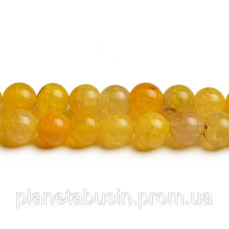 8 мм Жёлтый Агат Кракле, CN252, Натуральный камень, Форма: Шар, Отверстие: 1мм, кол-во: 47-48 шт/нить, фото 2