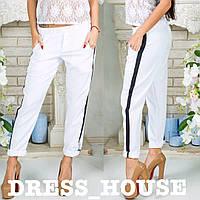 Модные штаны с лампасом р. 42-44 белые