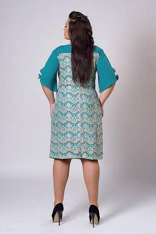 Нежное элегантное кружевное платье с оригинальным рукавом и украшением на горловине 50-52, фото 2