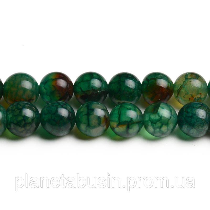 8 мм Агат Зелёные Вены, CN253, Натуральный камень, Форма: Шар, Отверстие: 1мм, кол-во: 47-48 шт/нить