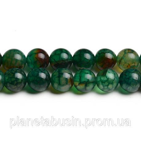 8 мм Агат Зелёные Вены, CN253, Натуральный камень, Форма: Шар, Отверстие: 1мм, кол-во: 47-48 шт/нить, фото 2